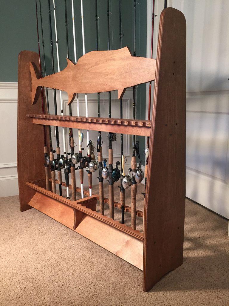 Wahoo ex large birch rod rack dark brown minwax english for Wooden fishing pole holder
