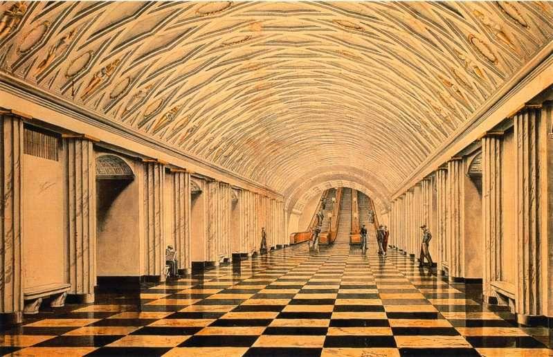 1936 38. Станция Театральная. Эскиз.