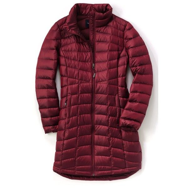 Lands' End Women's 800 Fill Power Packable Down Winter Coat ($20) ❤ liked on Polyvore featuring outerwear, coats, lands end coats, purple coat and lands' end