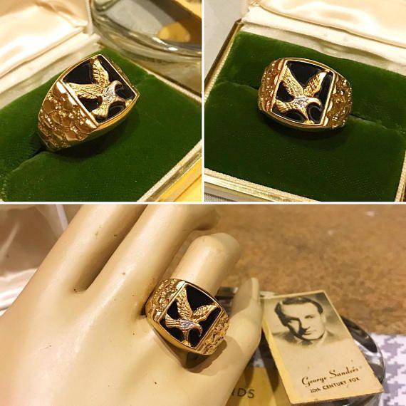 c2d314eb7d376 Vintage men's 10k yellow gold black onyx Eagle accent diamond ring ...
