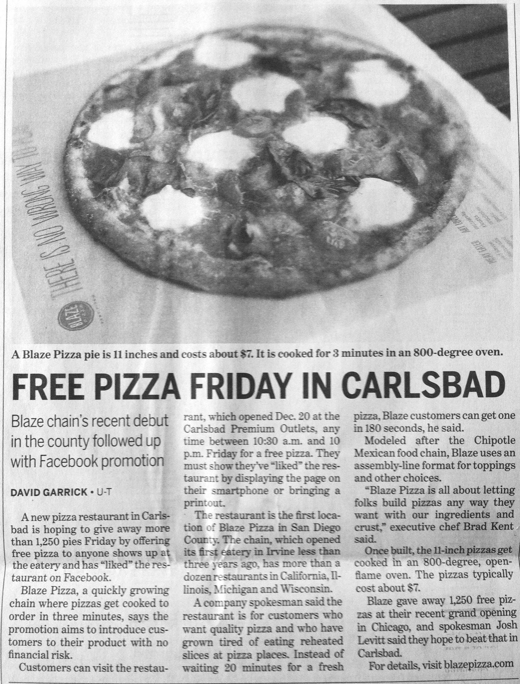 Pizza Chain Pr Article Like Their Fb Page For Free Pizza