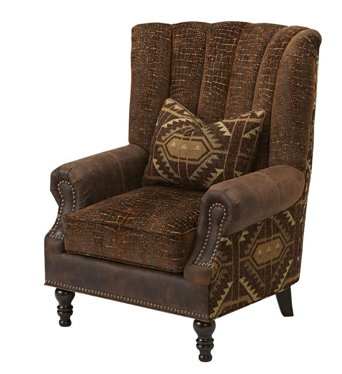 Massoud Rustic Fabric and Leather Chair Western Accent ...