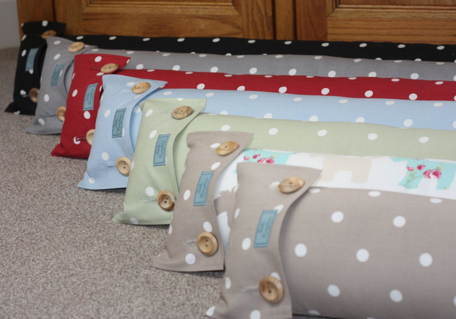Draught Excluder Draft Excluder Shabby Chic Fabric Handmade In Polka Dot Spotty In Taupe Beige Grey Green Red Scottie Dog Shabby Chic Fabric Draught Excluder Shabby Chic