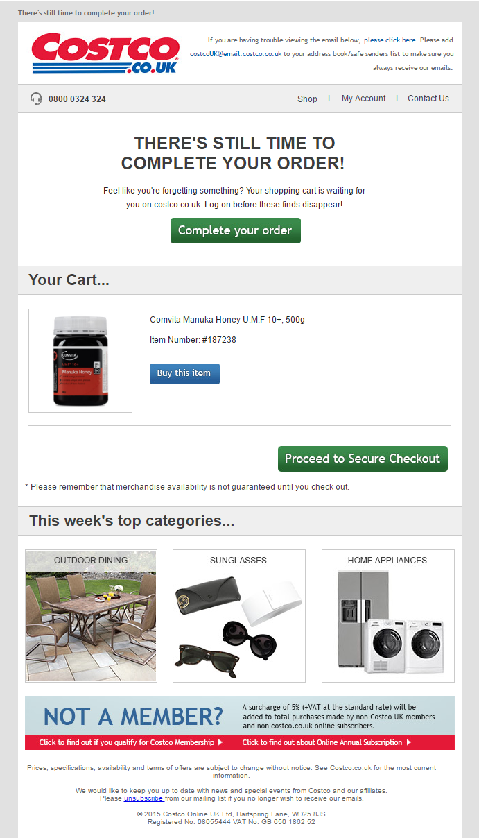Cart Abandonment Email from Costco #EmailMarketing #Email #Marketing ...