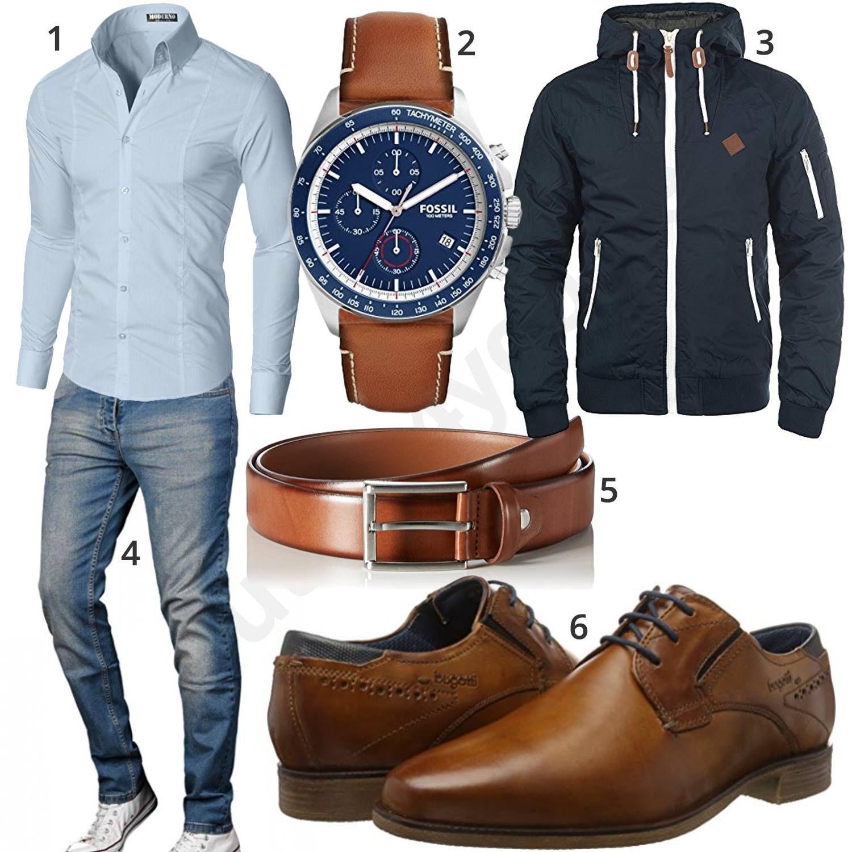 Herrenoutfit mit Hemd, Jeans und Business Schuhen #hemd