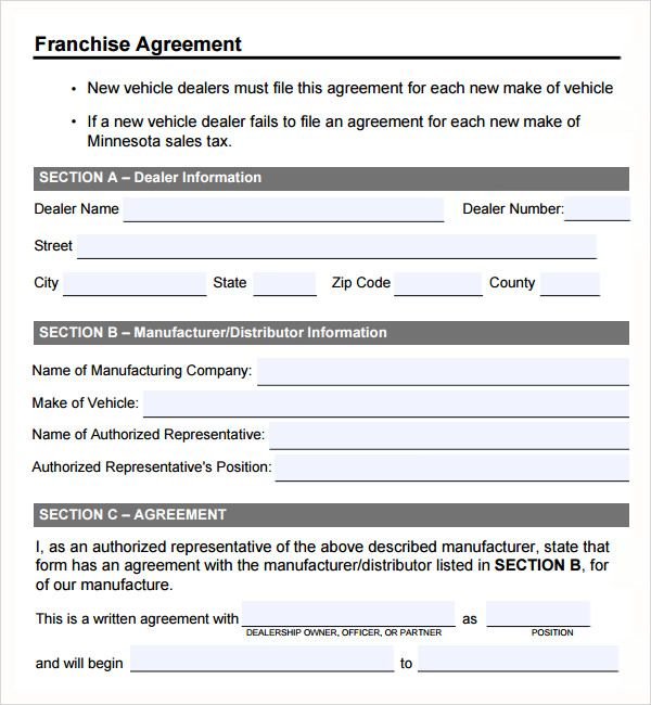 Franchise Agreement Form Template For Format  Home Design Idea