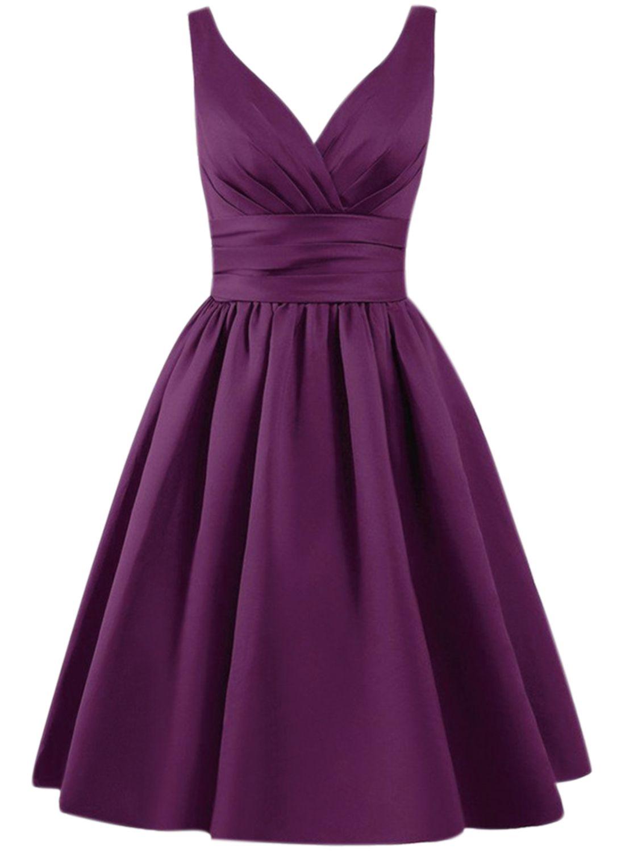 Womenus solid v neck aline bridesmaid dress fashion pinterest