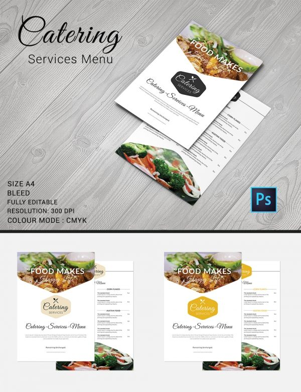 Catering Menu Template Free Psd Eps Documents Download Omaira - Menu brochure template free