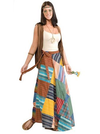 Patchwork Wrap Skirt Adult Costume | Womens 60's Halloween Costumes