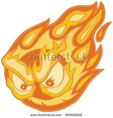 Vector Clip Art Cartoon Illustration Of A Fireball Mascot With Angry Eyes Cartoon Illustration Illustration Art