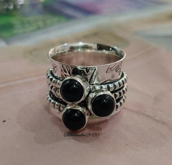 Black Onyx Ring, Spinner Ring, 925 Silver Ring, Meditation Ring, Texture Ring, Anxiety Ring, Onyx Jewelry, Women Ring, Gift For Her=====================================================================================================Benefits Of Black Onyx*****Ensure smart decision-making.Encourage happiness and luck.Support your efforts to improve self-discipline.Heal old wounds.Encourage and enhance meditation.Relieve phobias, self-doubt, and anxiety.=============================================