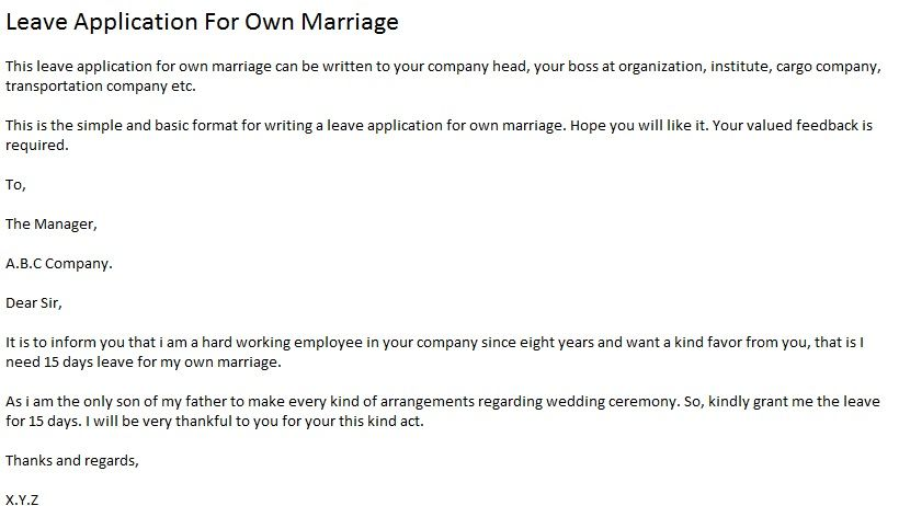 The basic format to write leave application for own marriage