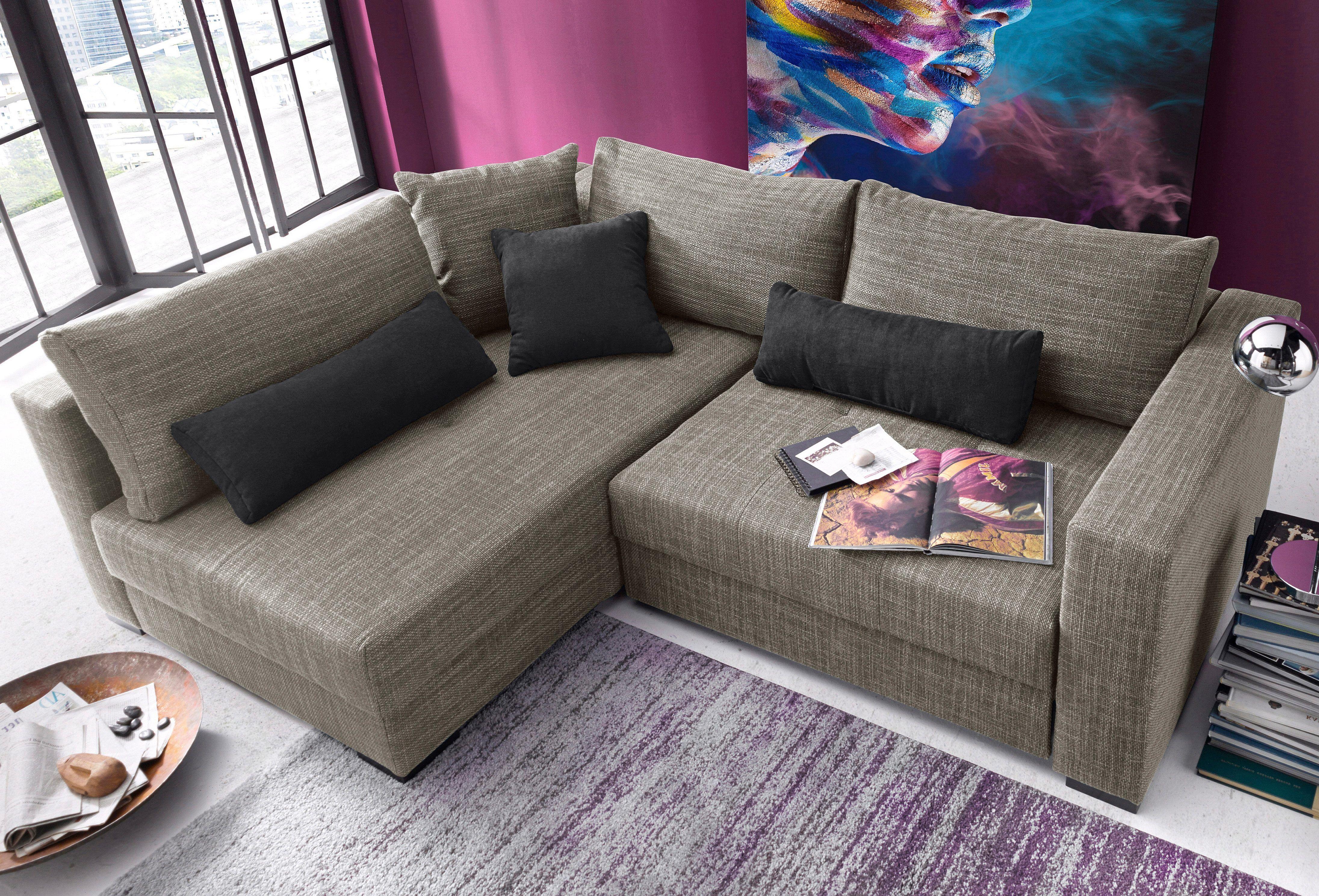 Wohnzimmer Garnituren ~ Polstergarnitur grau ottomane links mit bettfunktion und