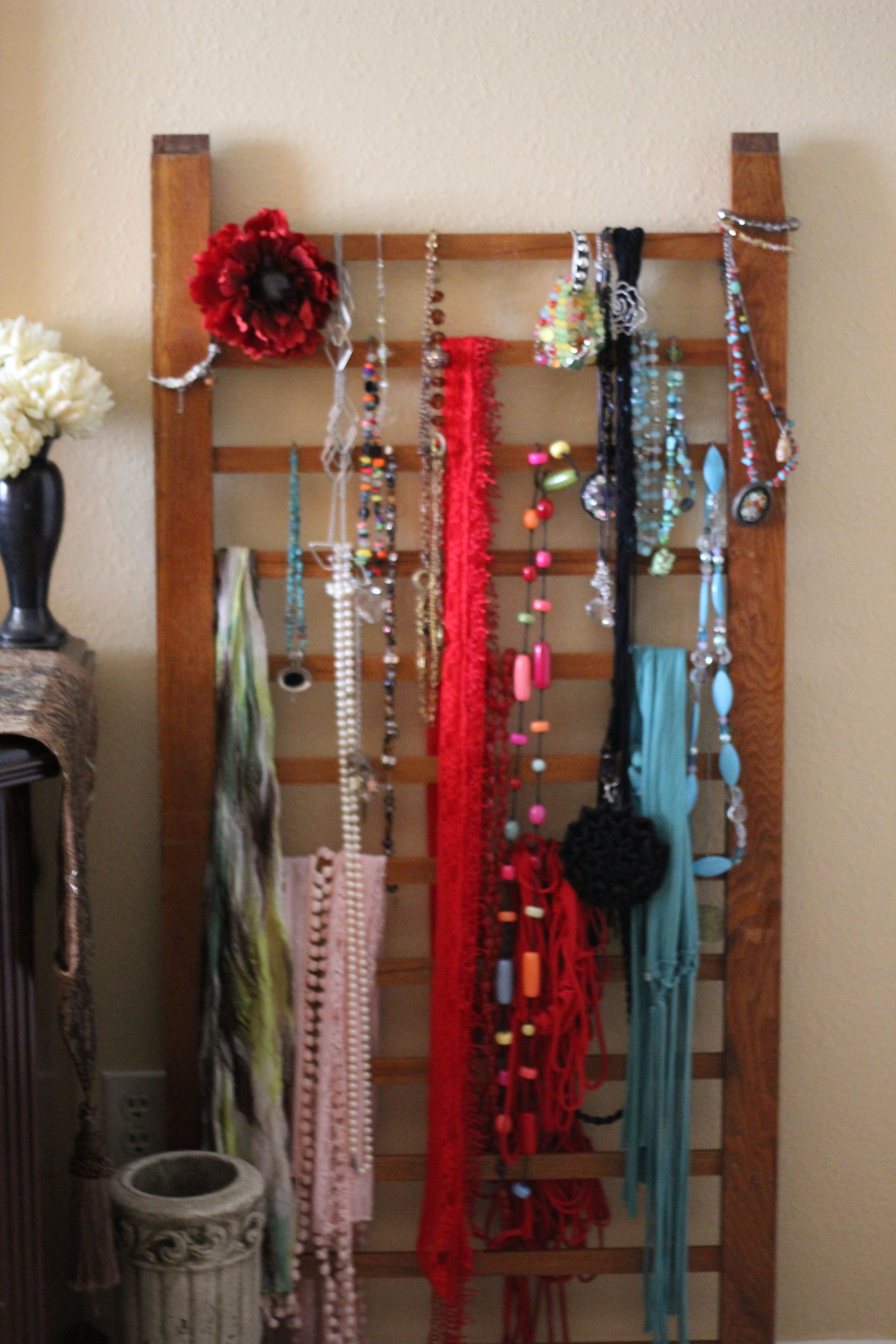 Crib rail for sale - Jewelry Scarf Display From An Antique Crib Rail