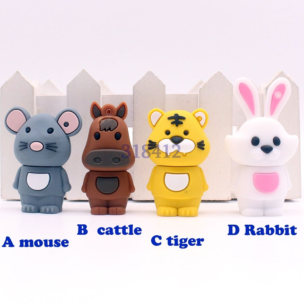 16GB USB Flash Drive Cartoon Rabbit Dog Tiger Pig Animals Model Memory Stick