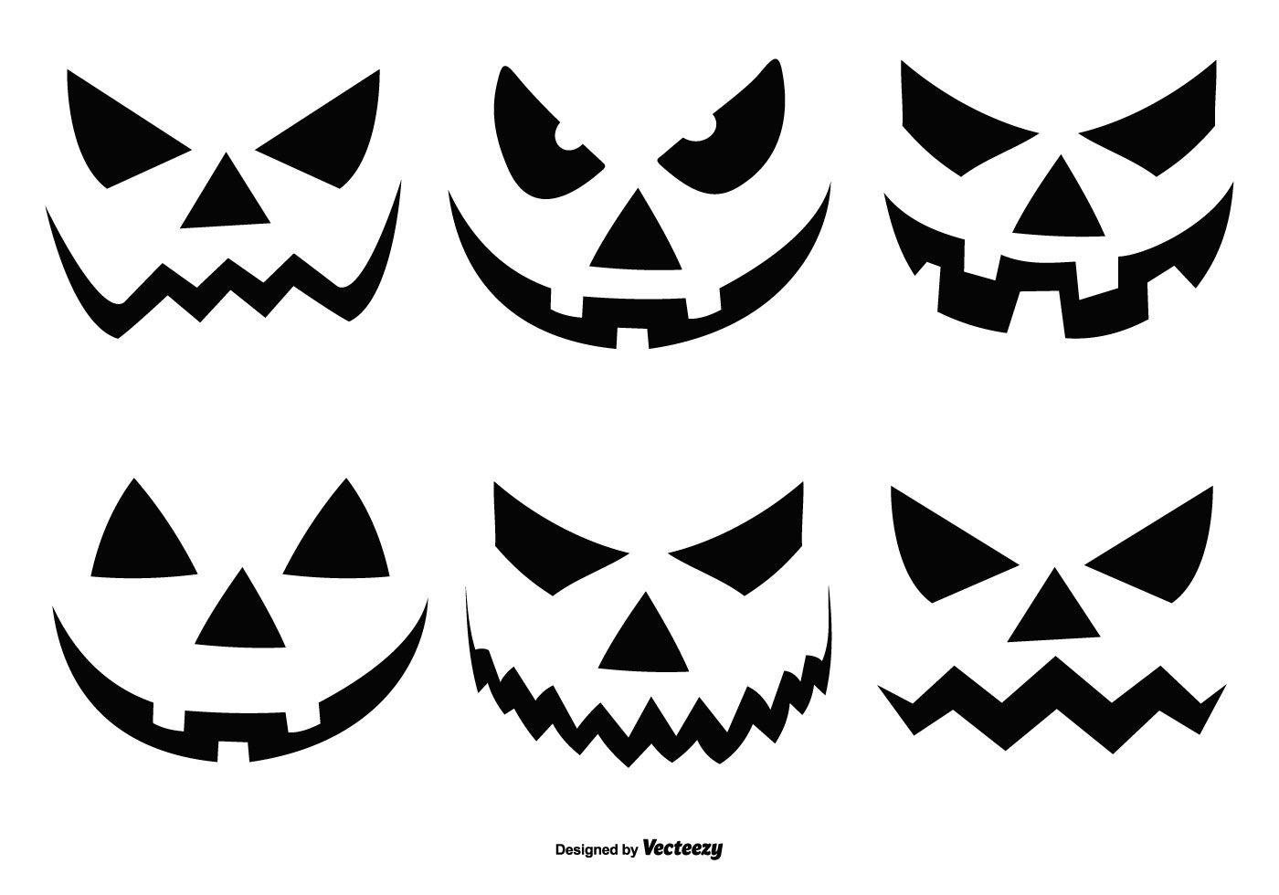 Coleccion De Caras De Calabaza De Halloween Calabazas De Halloween Caras De Calabazas Siluetas De Halloween