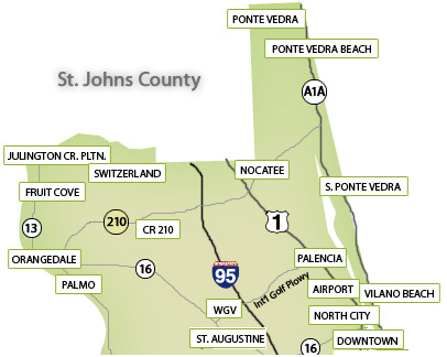 Map Of Nocatee In Ponte Vedra Located At Top Middle Of Map Along