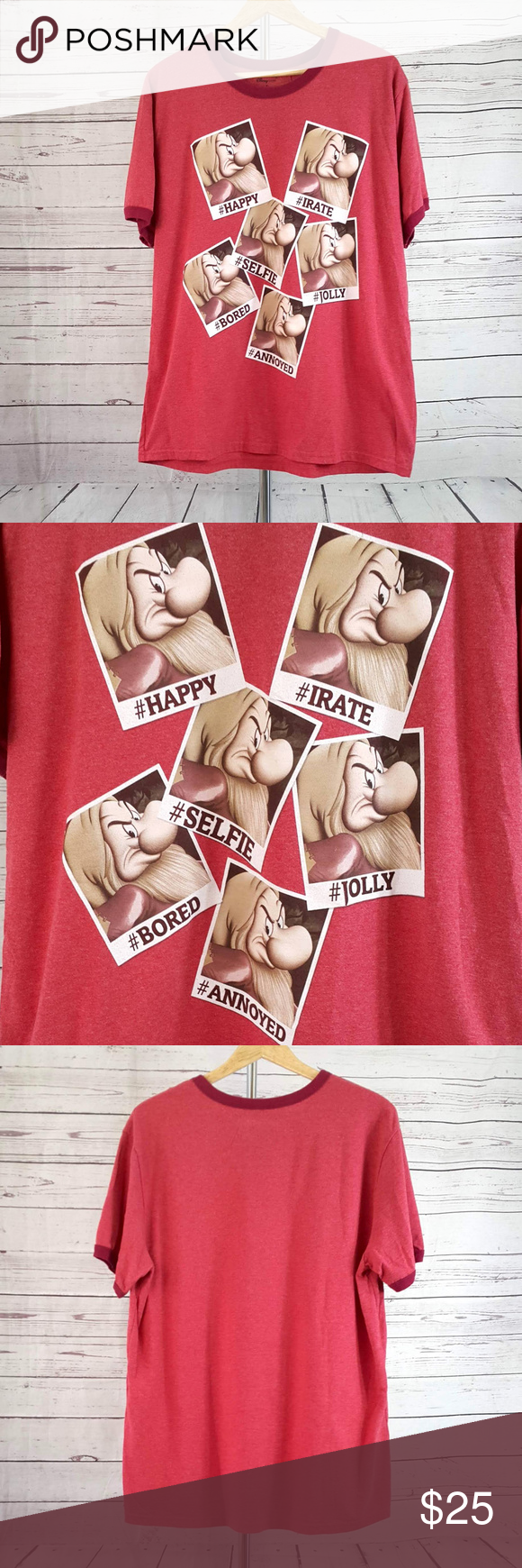 Disney Store red hashtag selfie Grumpy t shirt Disney Store heather red hashtag selfie photos Grumpy short sleeve t shirt. Crew neck. Darker red trim at neck and sleeves. Excellent pre-owned condition with no stains or tears. #happy #irate #selfie #jolly #bored #annoyed  Size XL / Extra Large  Measurements are approximate and taken laying flat: armpit to armpit: 24