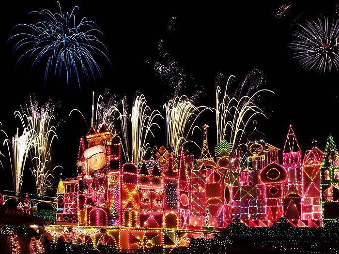 29 christmas night at disneyland wallpapers disneyland small world firework display wallpaper21 - Disneyland Christmas Decorations