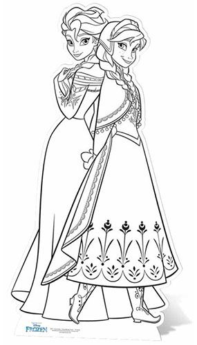 This Frozen Anna & Elsa Colour-In Lifesize Cardboard Cutout has fold out strut to the rear which means its entirely self supporting. This high quality c
