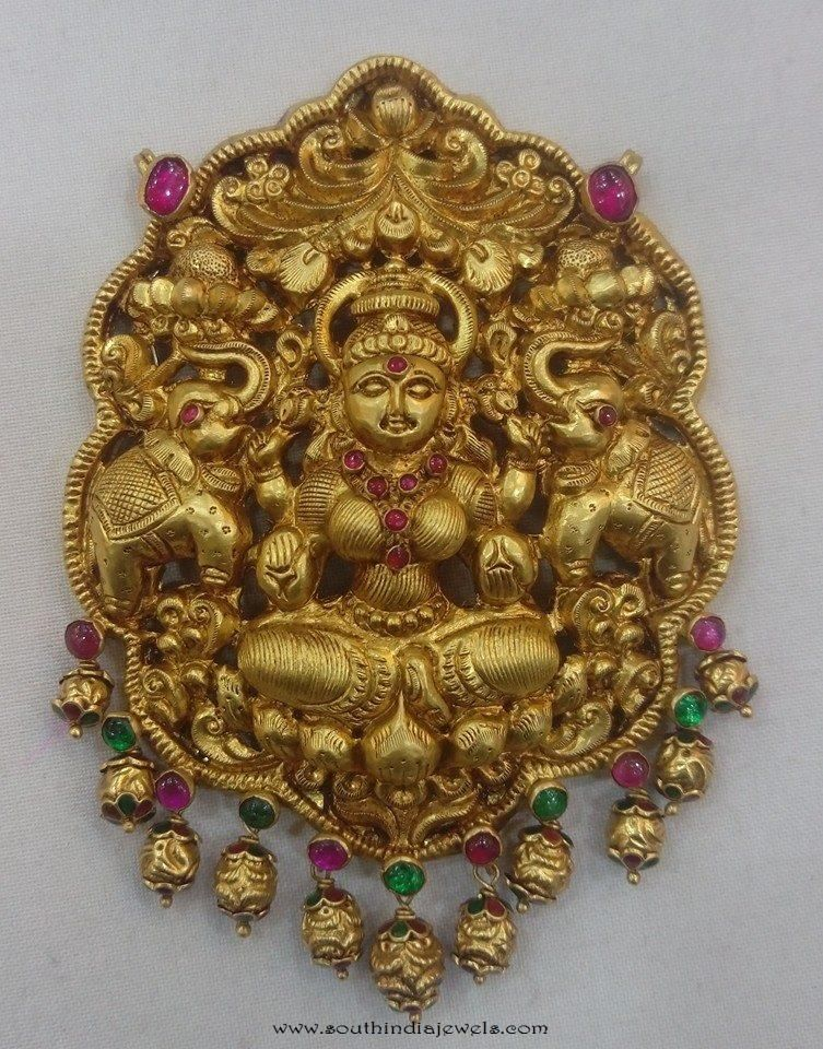 Gold lakshmi pendant from vijay jewellers pinterest temple lakshmi pendant designs lakshmi pendant with kemp stones gold temple jewellery aloadofball Choice Image