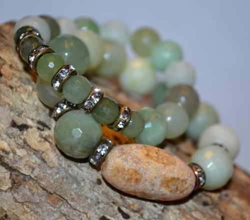 Ocean Jasper Olive and Green Aventurine Gemstone Bracelet Set