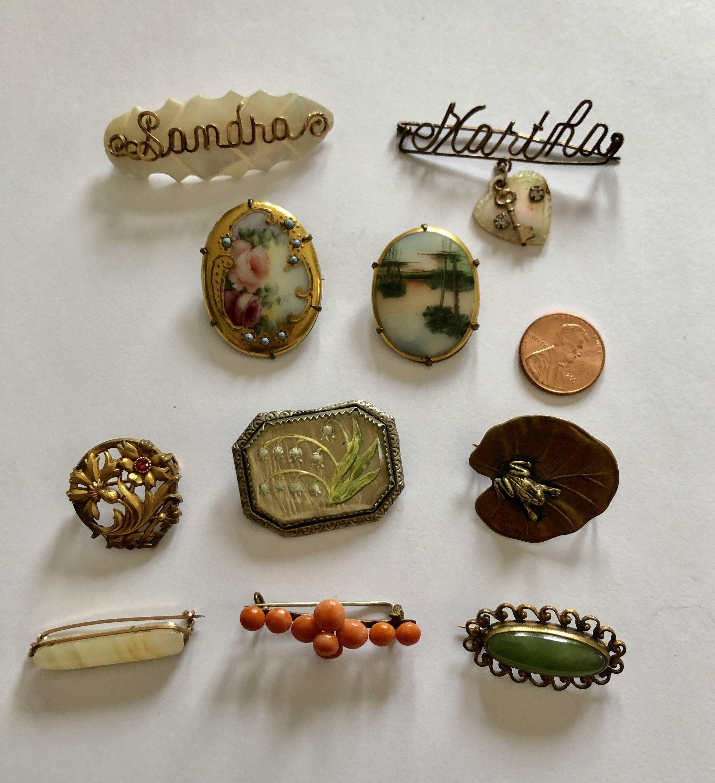 Vintage Antique PIN Brooch Lot Coral Gemstone FIX France