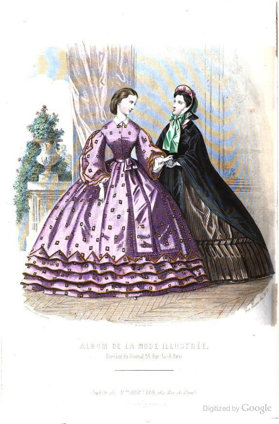 July 1861 La Mode illustrée: journal de la famille - Google Books pg 212 #dressesfromthesouthernbelleera