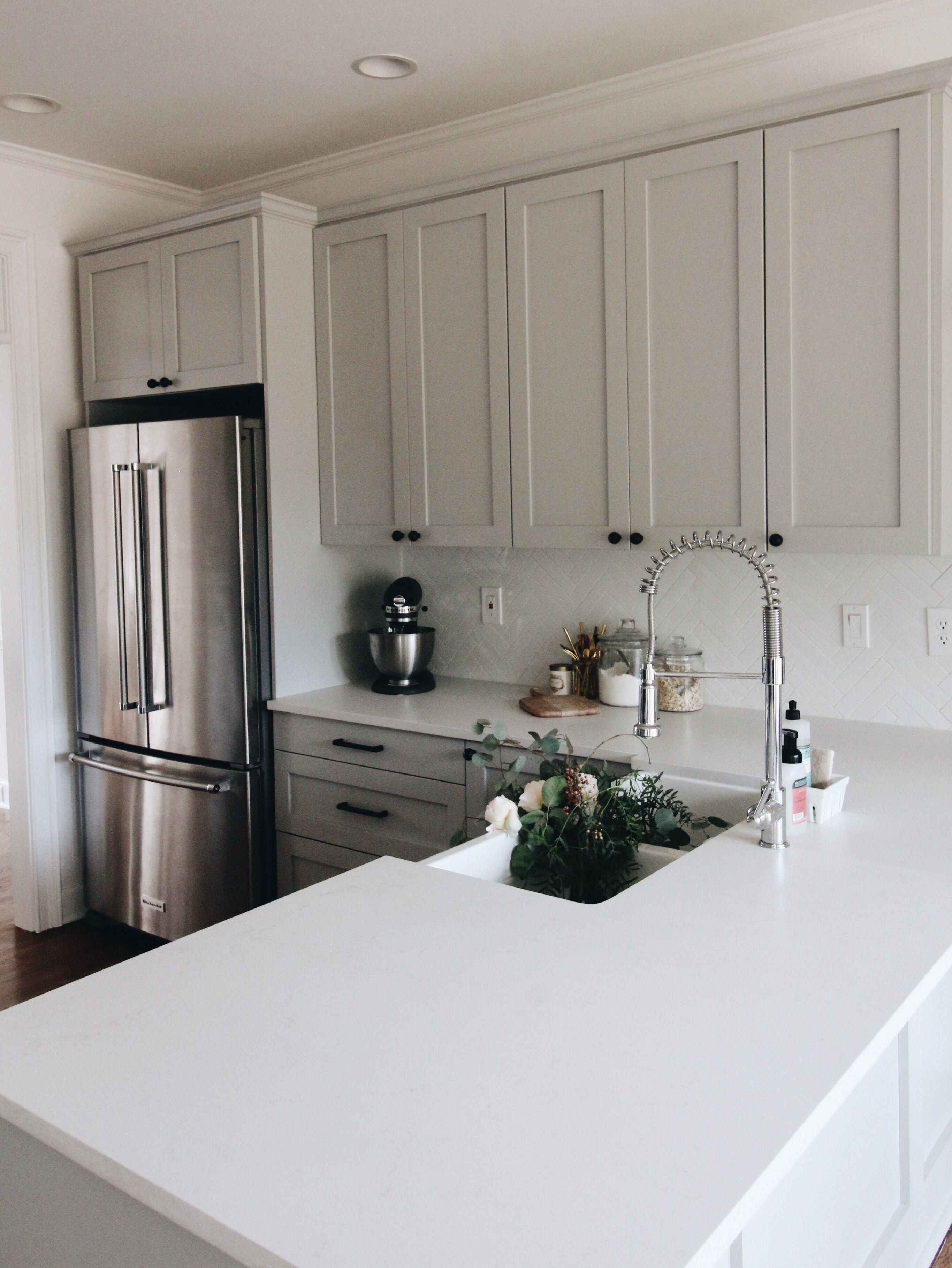Quartz countertops u grey shaker cabinets garvin u co kitchen