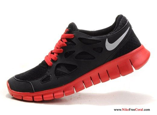 Nike Free Run 2 Mens Black Silver Red Running Shoes Discount