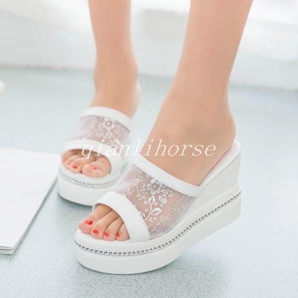 38e00ba90de Hot Sale Womens Wedge Heel Mesh Glitter Open Toe Flip Flop Summer Sandal  Slipper