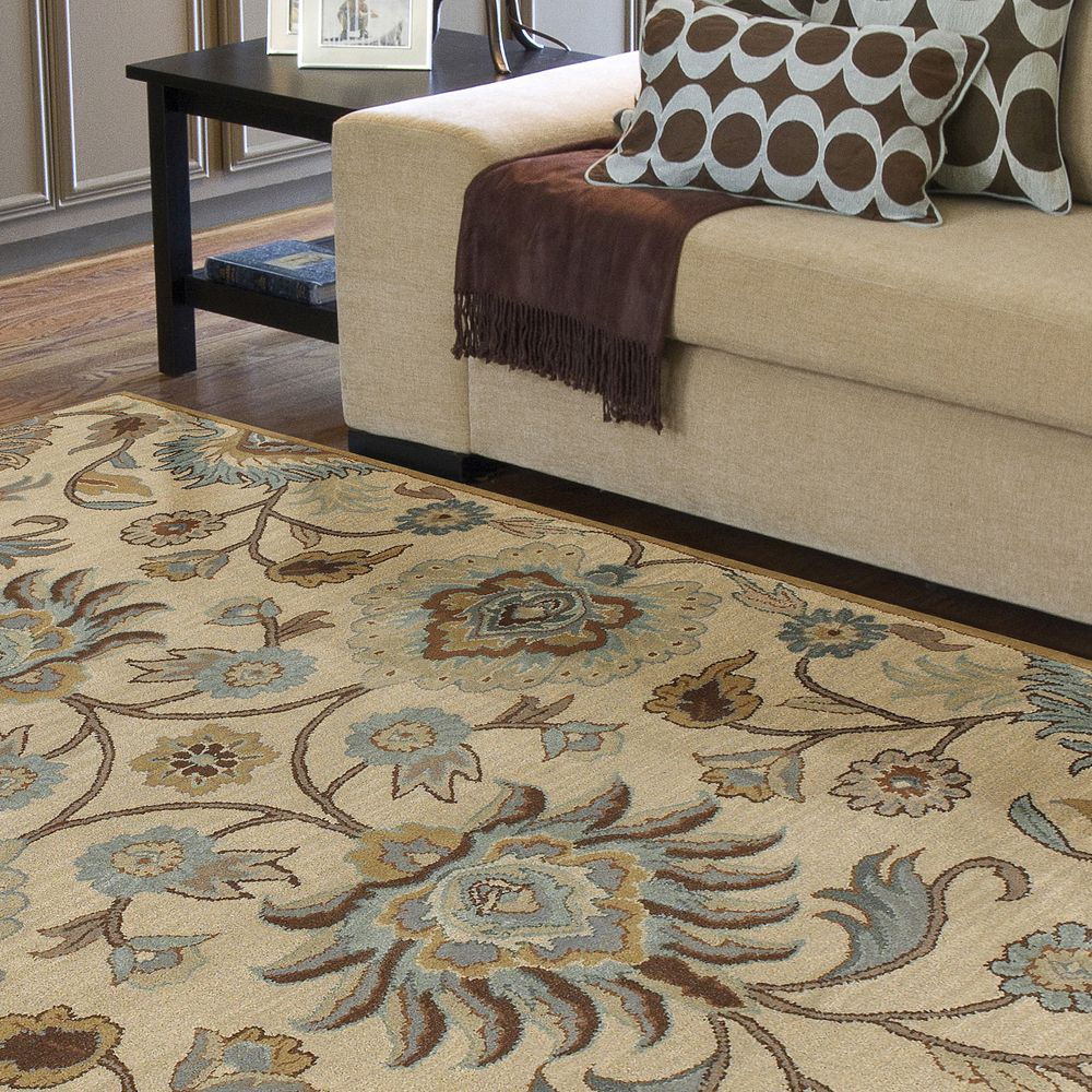 Hand Tufted Amanda Ivory Floral Wool Area Rug 5 X 7 9