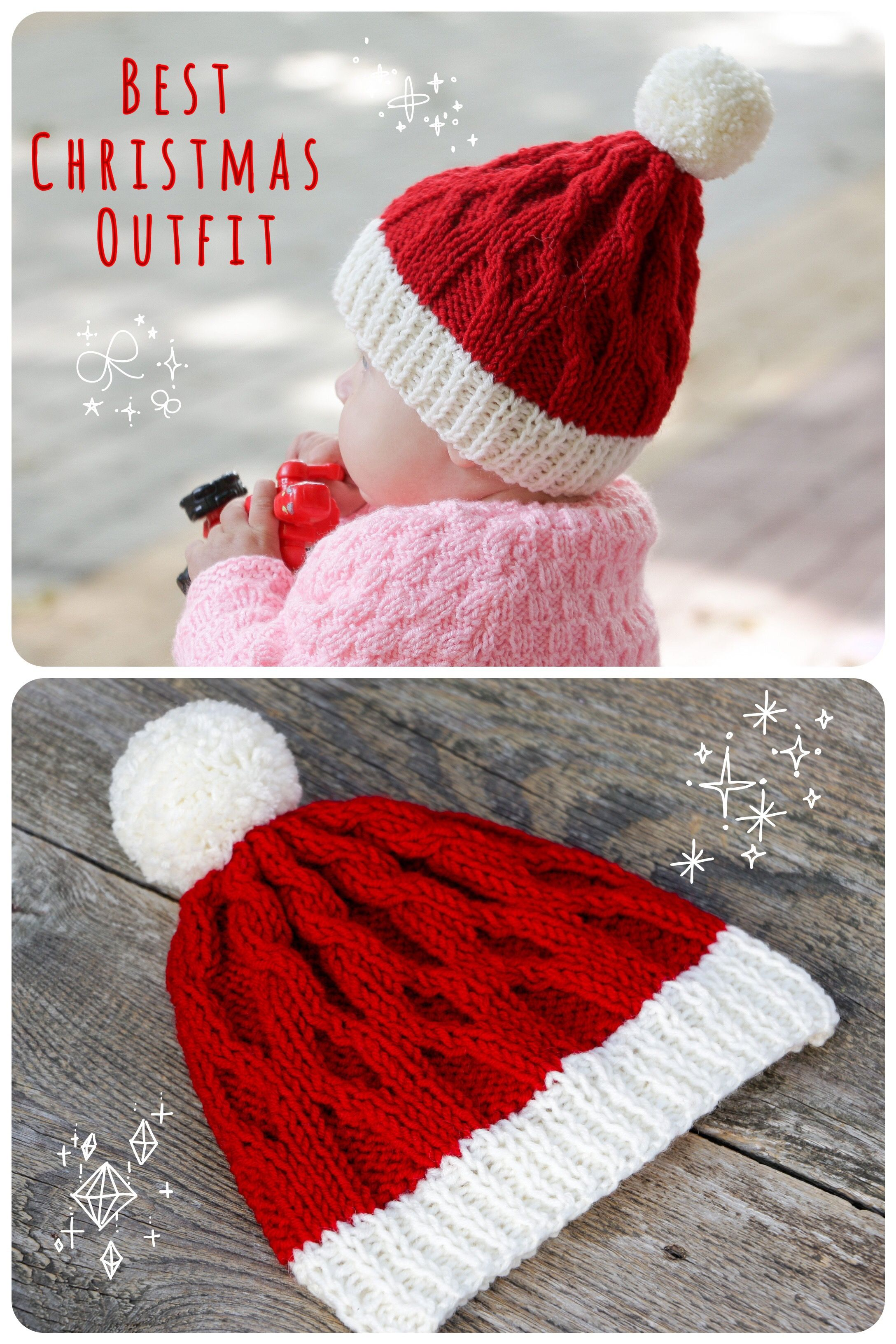 Knit christmas hat knit santa hat red christmas hat baby christmas ...