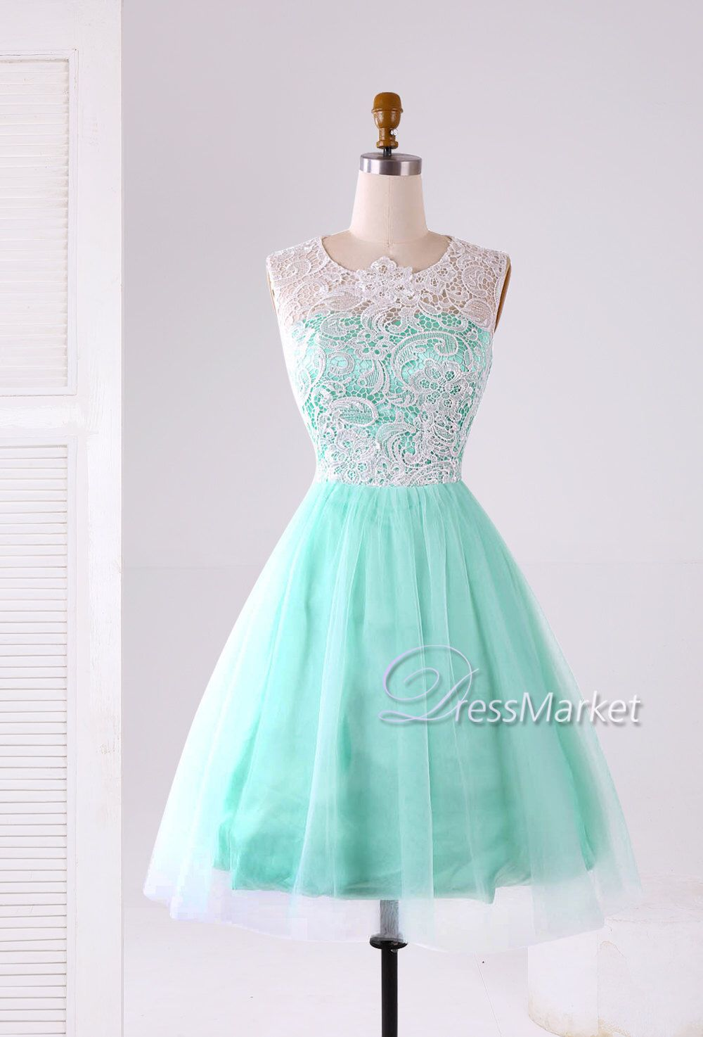 Mint green short prom dress,Mint green satin white lace and tulle ...