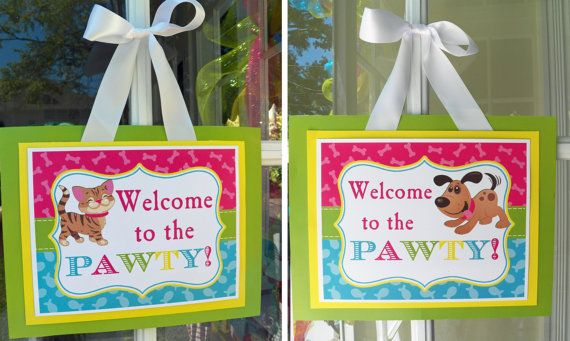 Cat And Dog Door Sign Printable Instant Download Meow Sit Stay