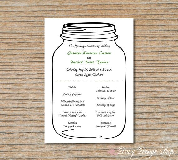 Wedding Program Mason Jar Rustic Double Sided By Daisydesign 1 25
