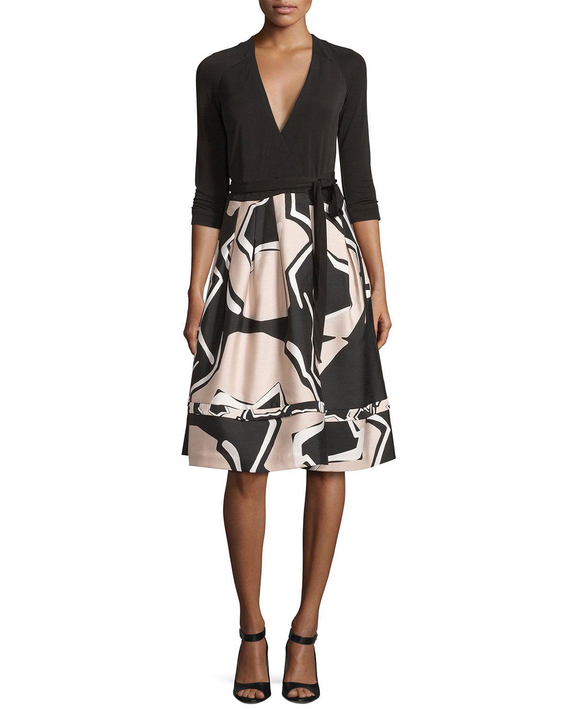New Jewel Wrap Dress w/Mikado Skirt, Black/Pommeau Grande   Products ...