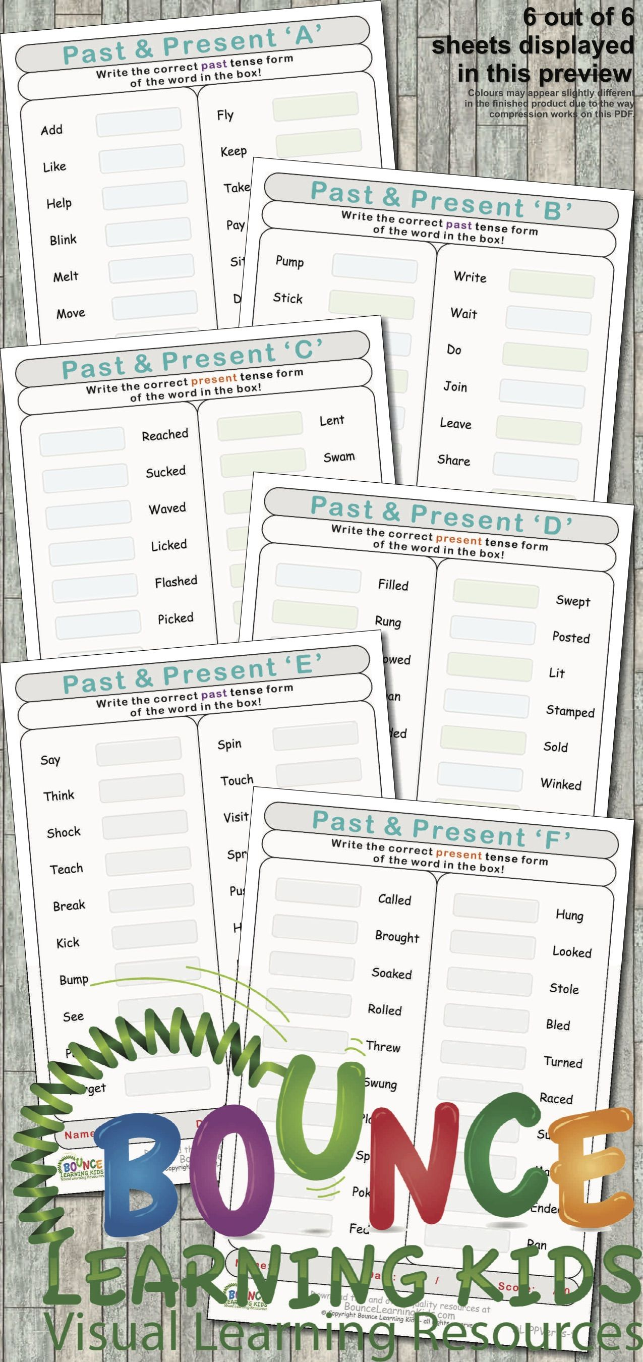 Past Amp Present Tense 6 Distance Learning Literacy Sheets