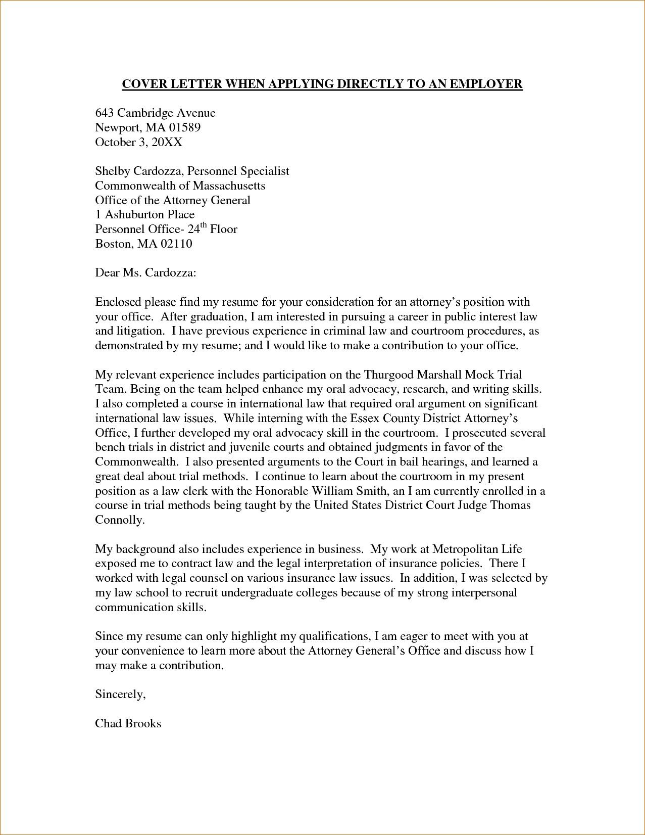 Cover Letter Sample For Law Firm