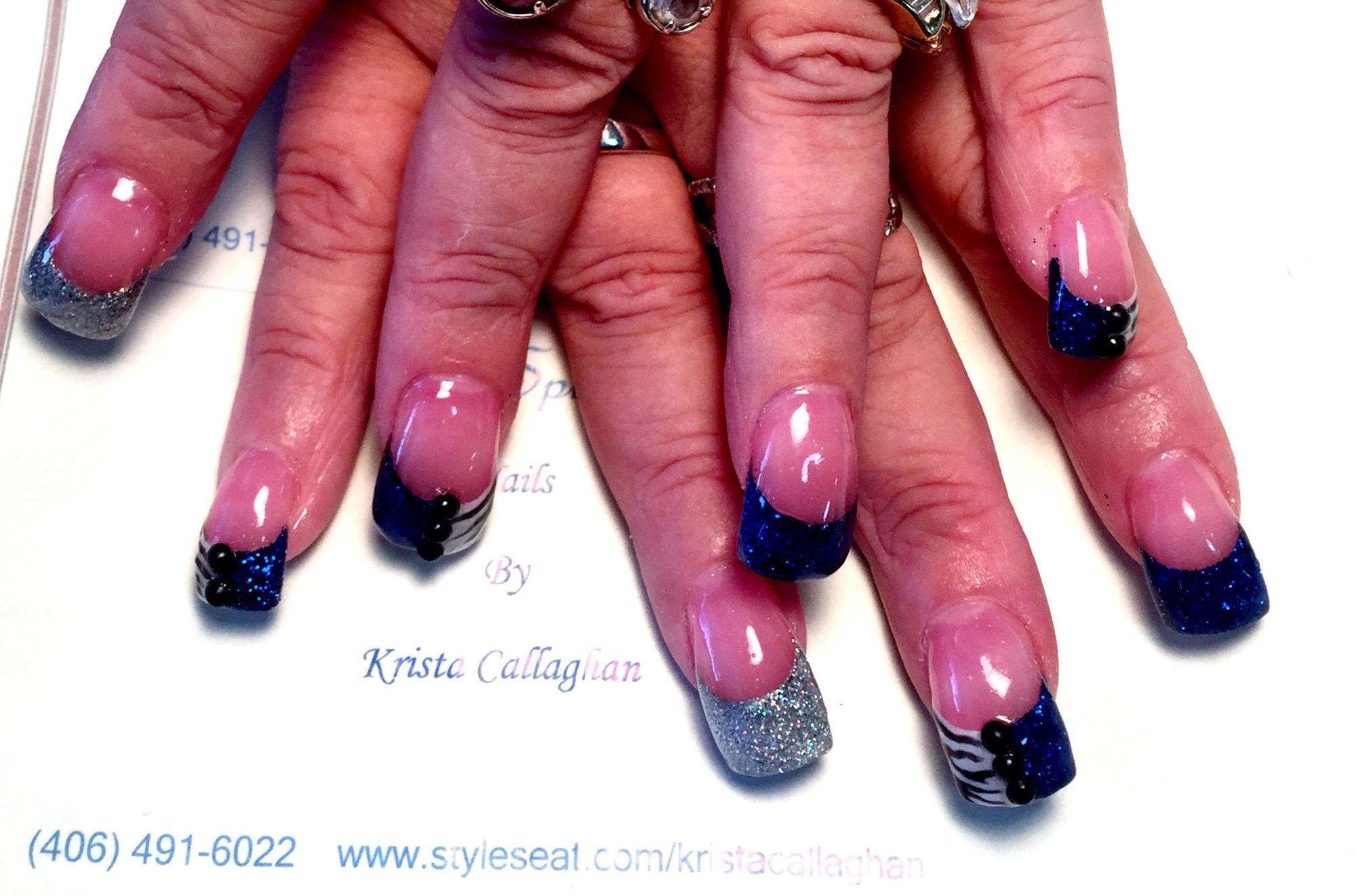 Abstract acrylic nail art design. Jeweled nails. Blue nails. Black ...
