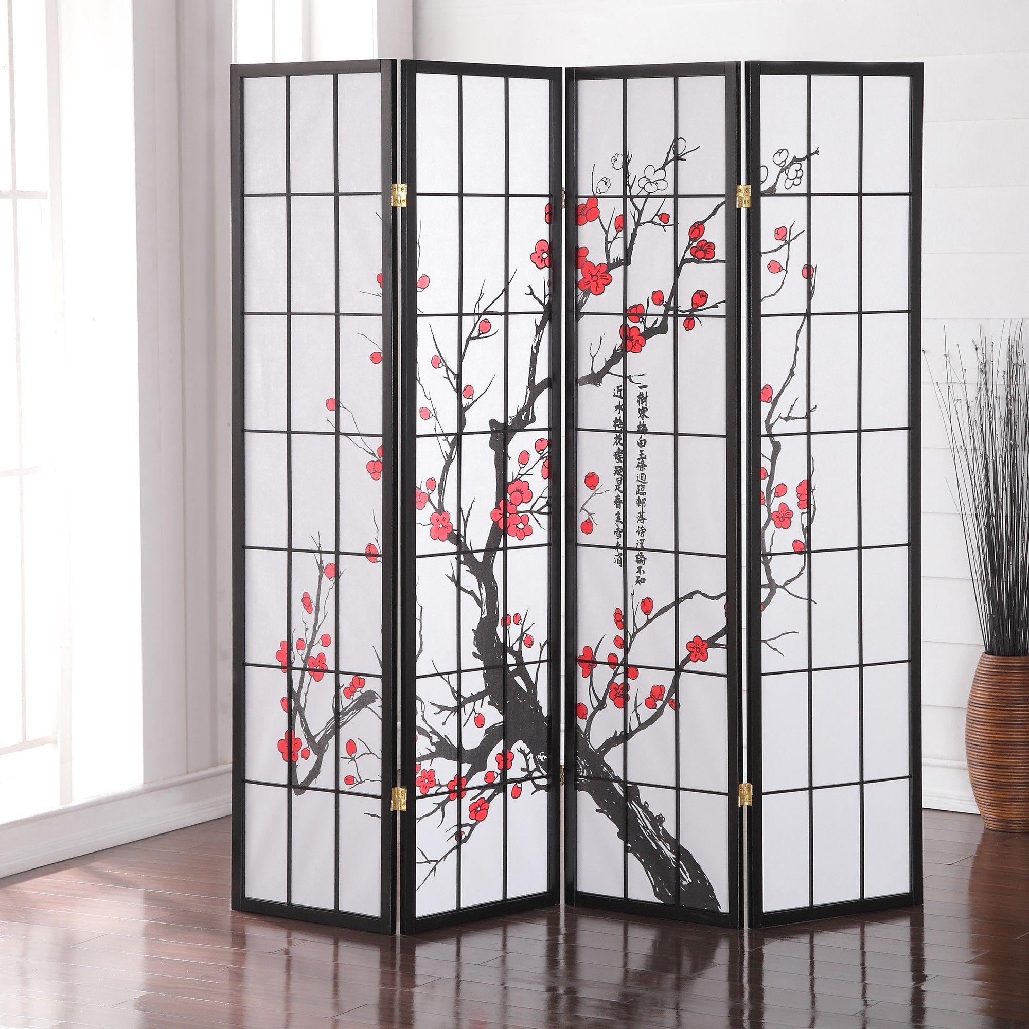 Roundhill Furniture 71 X 72 Japanese Plum Blossom 4 Panel Room Divider Room Divider Screen Wooden Room Dividers Japanese Room Decor