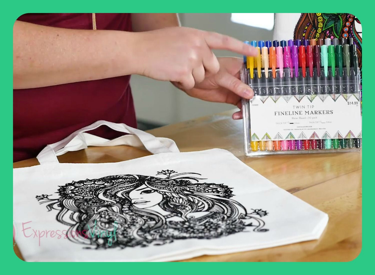 Coloring Page Tote Bag Coloring Canvas Coloring Pages Expressions Vinyl