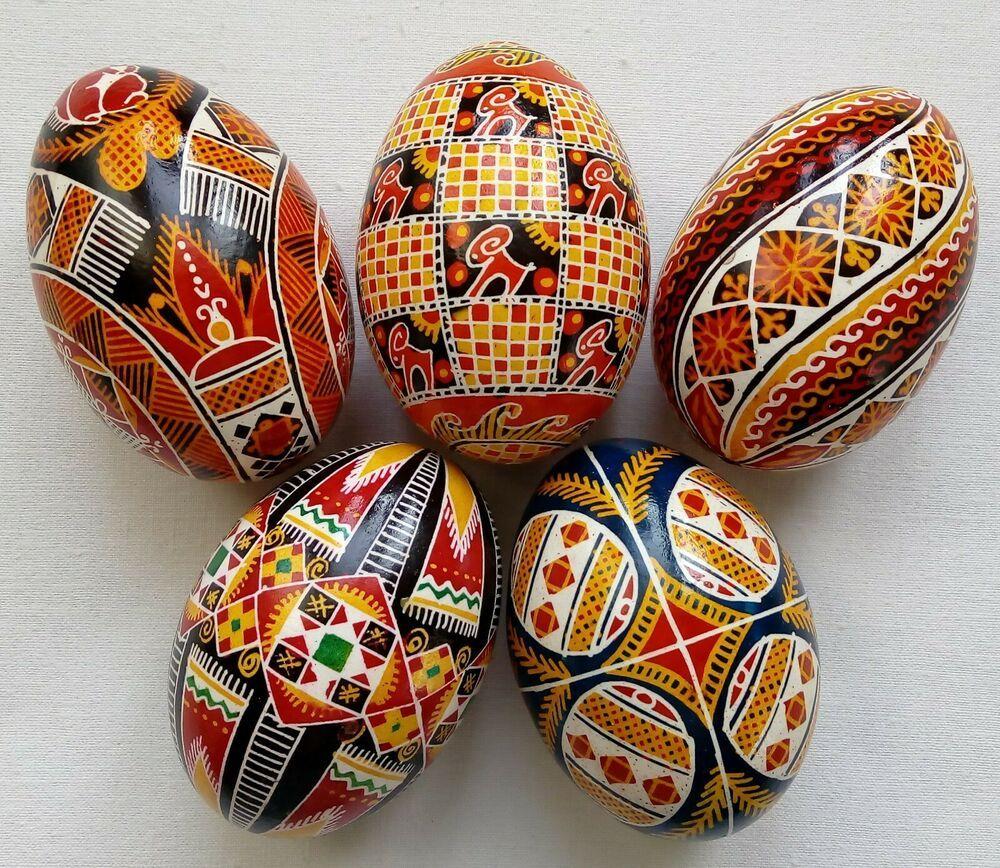5 Real Ukrainian Hand Made Pysanky Easter Eggs Ukraine Pisanki