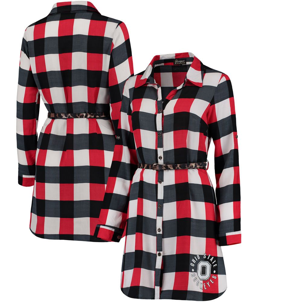 0c986a9ee6 Women s Scarlet Ohio State Buckeyes Leopard Belted Plaid Tunic Shirt Dress
