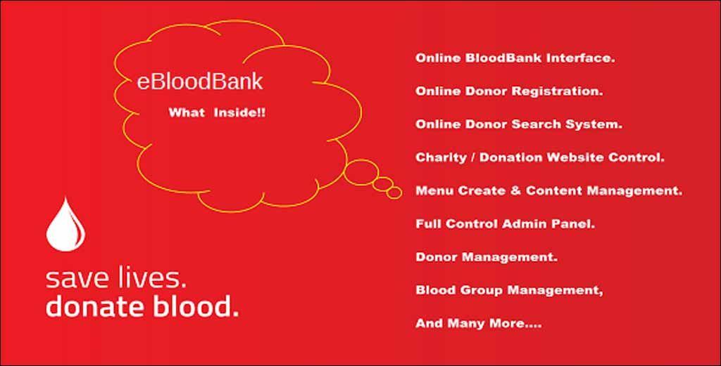 Eblood Online Bloodbank Donor Management System Php Script