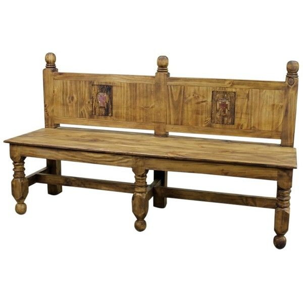 Rustic Wood Bench with Raised Back and Cross