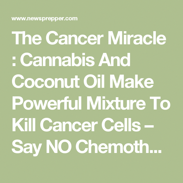 The Cancer Miracle : Cannabis And Coconut Oil Make Powerful Mixture