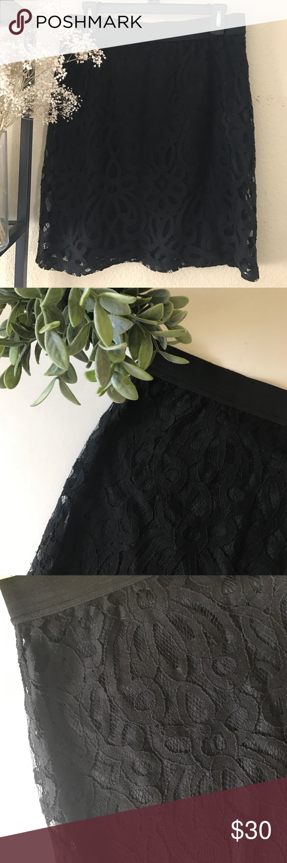 New York& Co Lace Skirt NY&Co black lace skirt. Elastic waist. Pencil skirt. Lightly worn. Size S. New York & Company Skirts Pencil