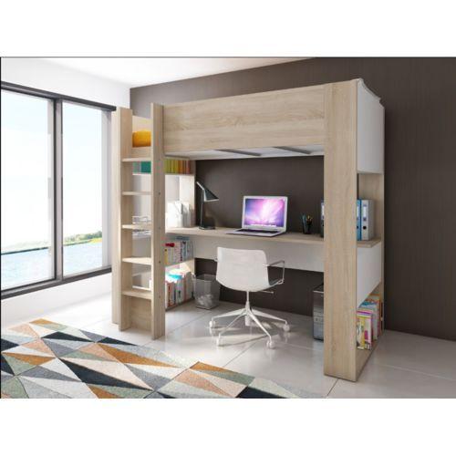 vente unique lit mezzanine noah avec bureau et rangements int gr s 90x190cm matelas stelo. Black Bedroom Furniture Sets. Home Design Ideas