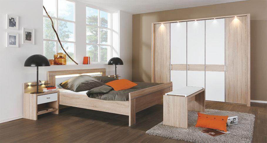 Schlafzimmer Mit Bett 180 X 200 Cm Eiche Sägerau/ Alpinweiss Woody - komplett schlafzimmer günstig